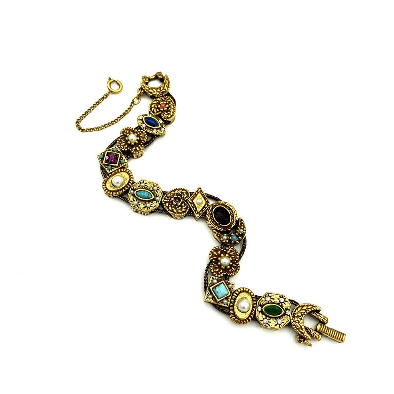 Vintage Gold Goldette Slide Charm Bracelet-Sustainable Fashion with Vintage Style-Trending Designer Fashion-24 Wishes