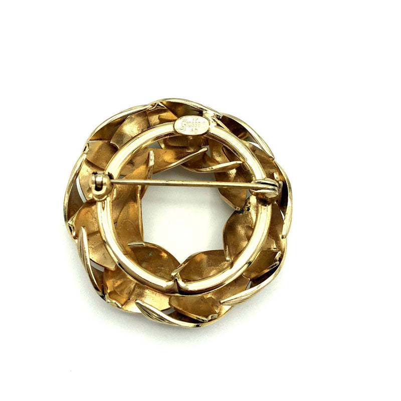 Vintage Gold Circle Henkel Grosse Classic Brooch-Sustainable Fashion with Vintage Style-Trending Designer Fashion-24 Wishes