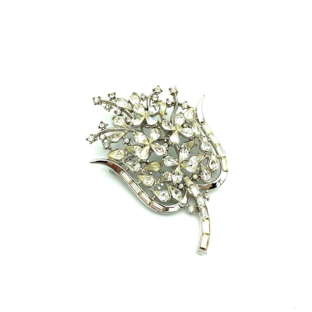 Large Trifari Silver Rhinestone Floral Spray Brooch-Sustainable Fashion with Vintage Style-Trending Designer Fashion-24 Wishes