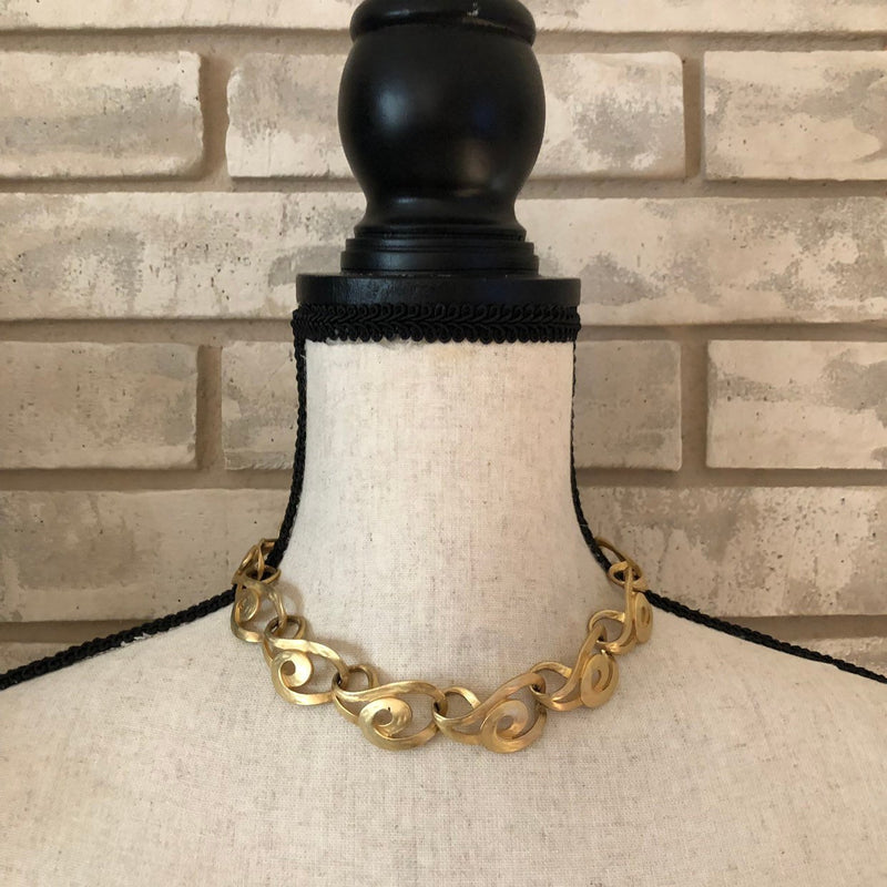 Vintage Erwin Pearl Classic Gold Link Necklace-Sustainable Fashion with Vintage Style-Trending Designer Fashion-24 Wishes