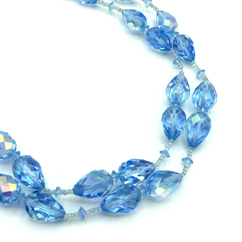 Vintage Vendome Blue Teardrop Faceted Crystal Necklace