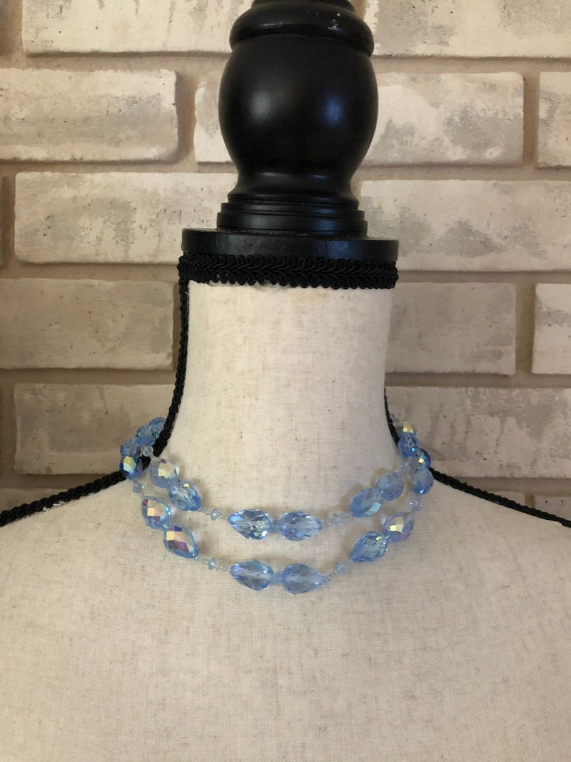 Vintage Vendome Blue Teardrop Faceted Crystal Necklace-Sustainable Fashion with Vintage Style-Trending Designer Fashion-24 Wishes