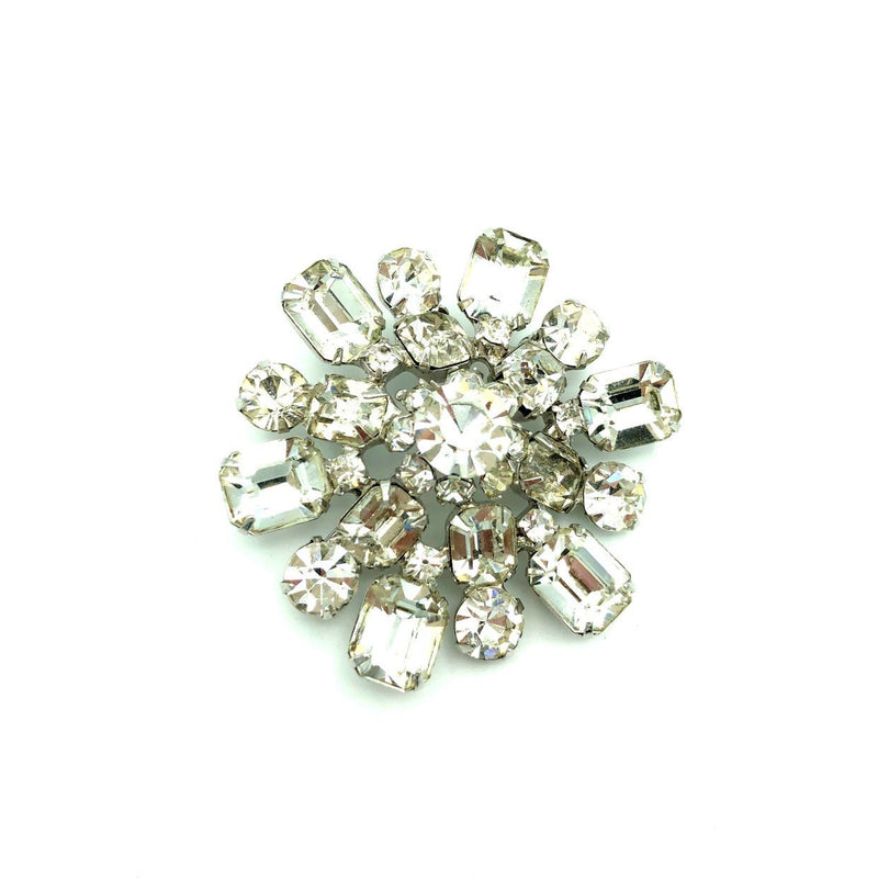 Large Layered Clear Rhinestone Vintage Kramer Brooch-Sustainable Fashion with Vintage Style-Trending Designer Fashion-24 Wishes