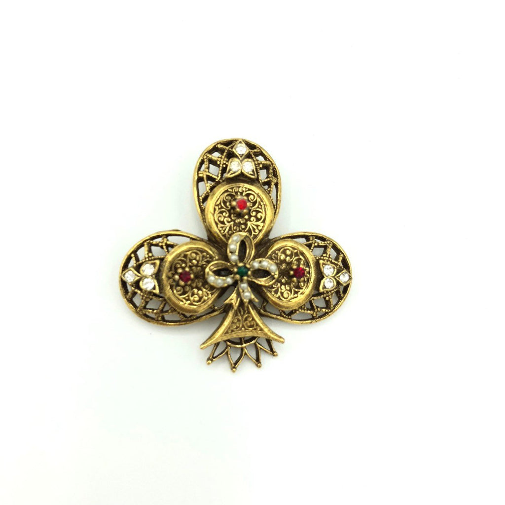 Vintage Gold Layered Clover Rhinestone Brooch