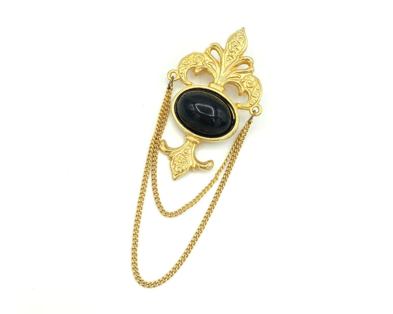 Vintage Gold Bergere Classic Fleur-De-Lis Brooch-Sustainable Fashion with Vintage Style-Trending Designer Fashion-24 Wishes