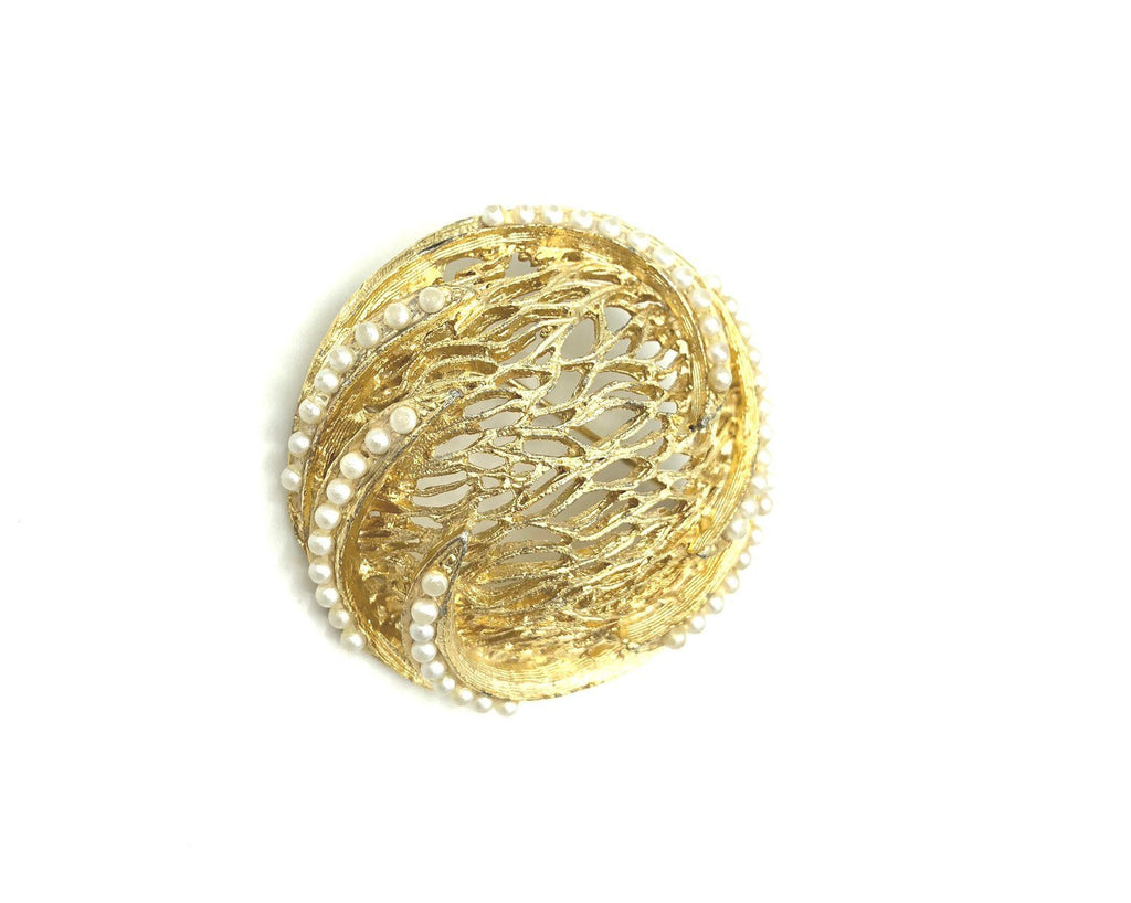 Gold Abstract Web Pearl BSK Vintage Brooch Pin
