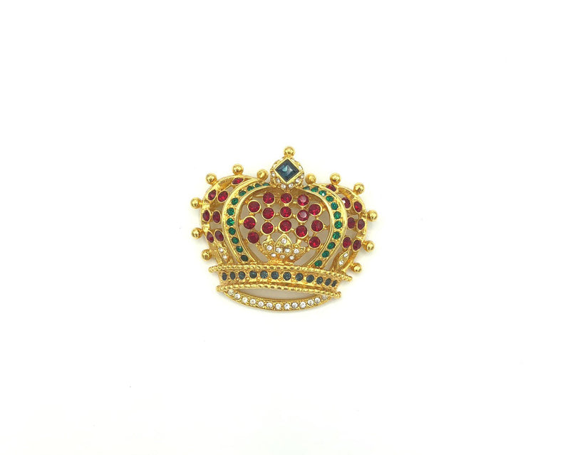 Classic Gold Kenneth Jay Lane Rhinestone Crown Brooch