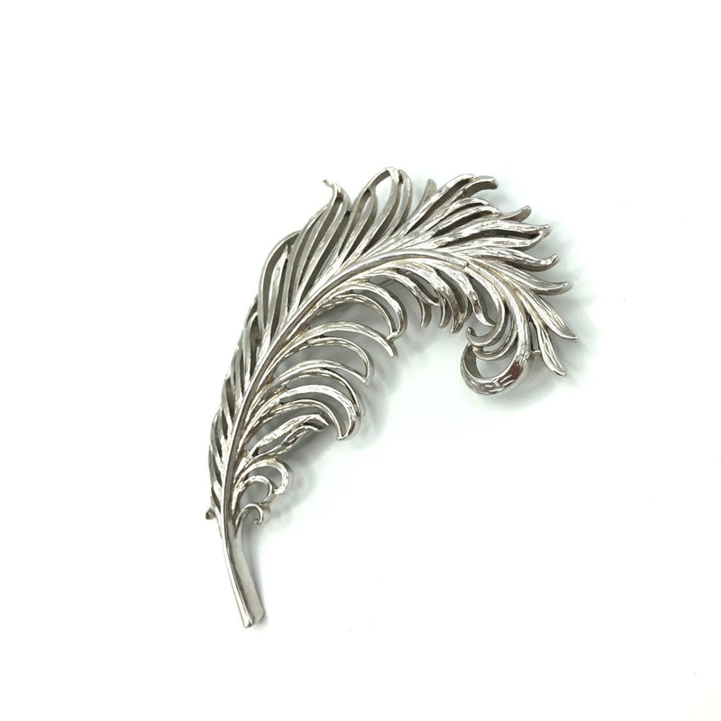 Vintage Trifari Large Silver Feather Pin Brooch
