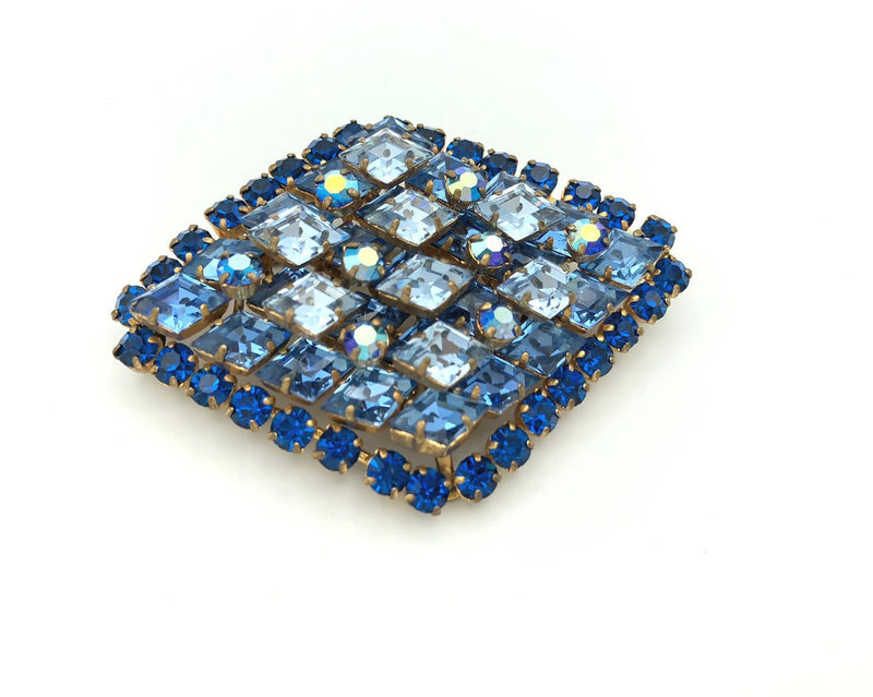 Vintage Austria Art Deco Blue Crystal Brooch-Sustainable Fashion with Vintage Style-Trending Designer Fashion-24 Wishes