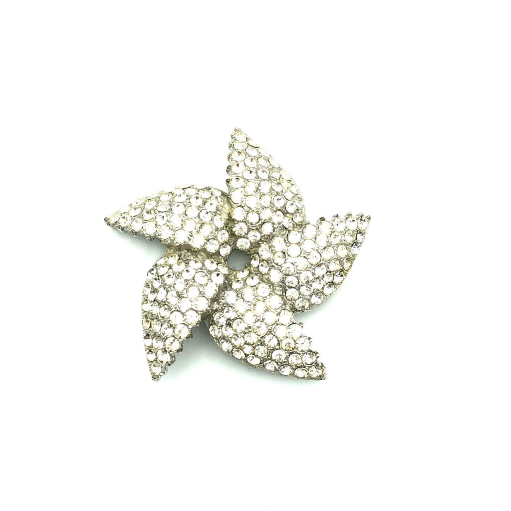 Vintage Ora Silver Rhinestone Diamante Pinwheel Brooch-Sustainable Fashion with Vintage Style-Trending Designer Fashion-24 Wishes