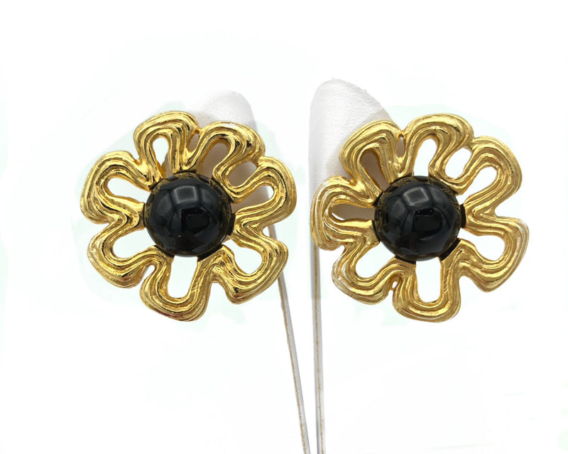 Vintage Classic Givenchy Large Gold Flower Statement Earrings
