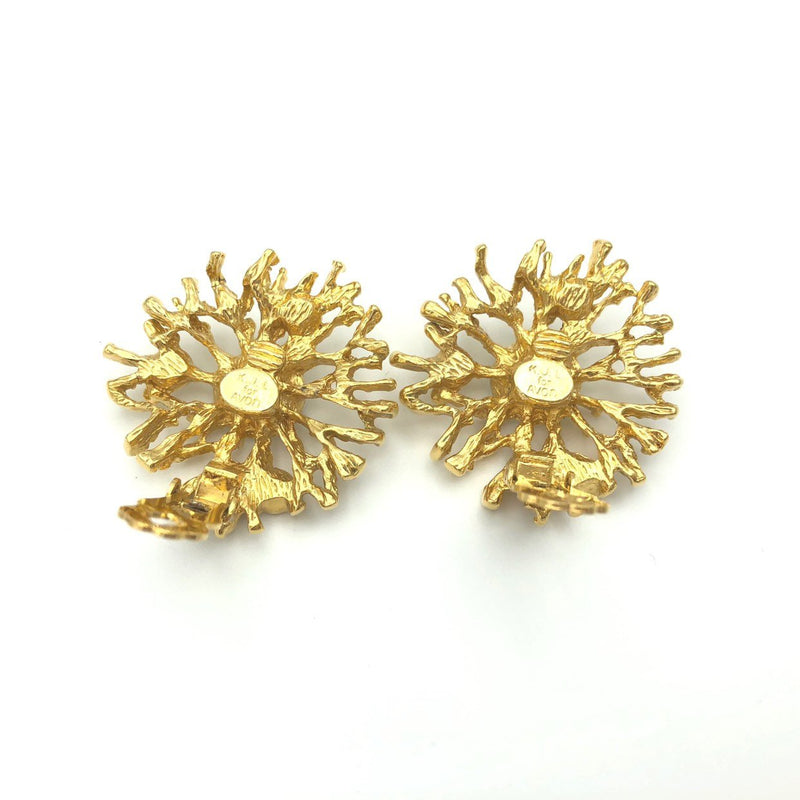 Vintage Kenneth Jay Lane Gold Coral Earrings