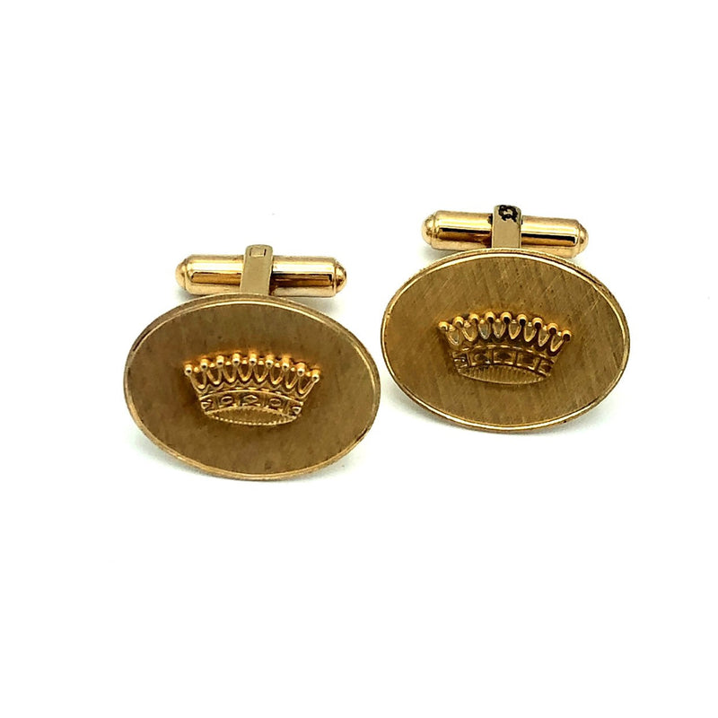 Vintage Crown Gold Oval Cuff Links