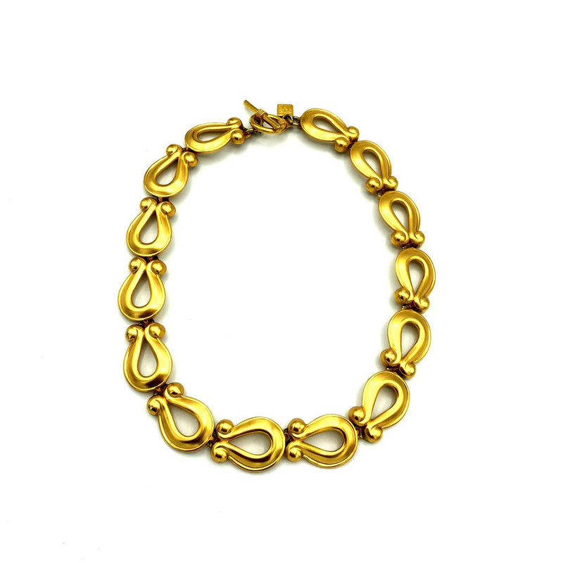 Anne Klein Classic Matt Gold Horse Shoe Link Necklace