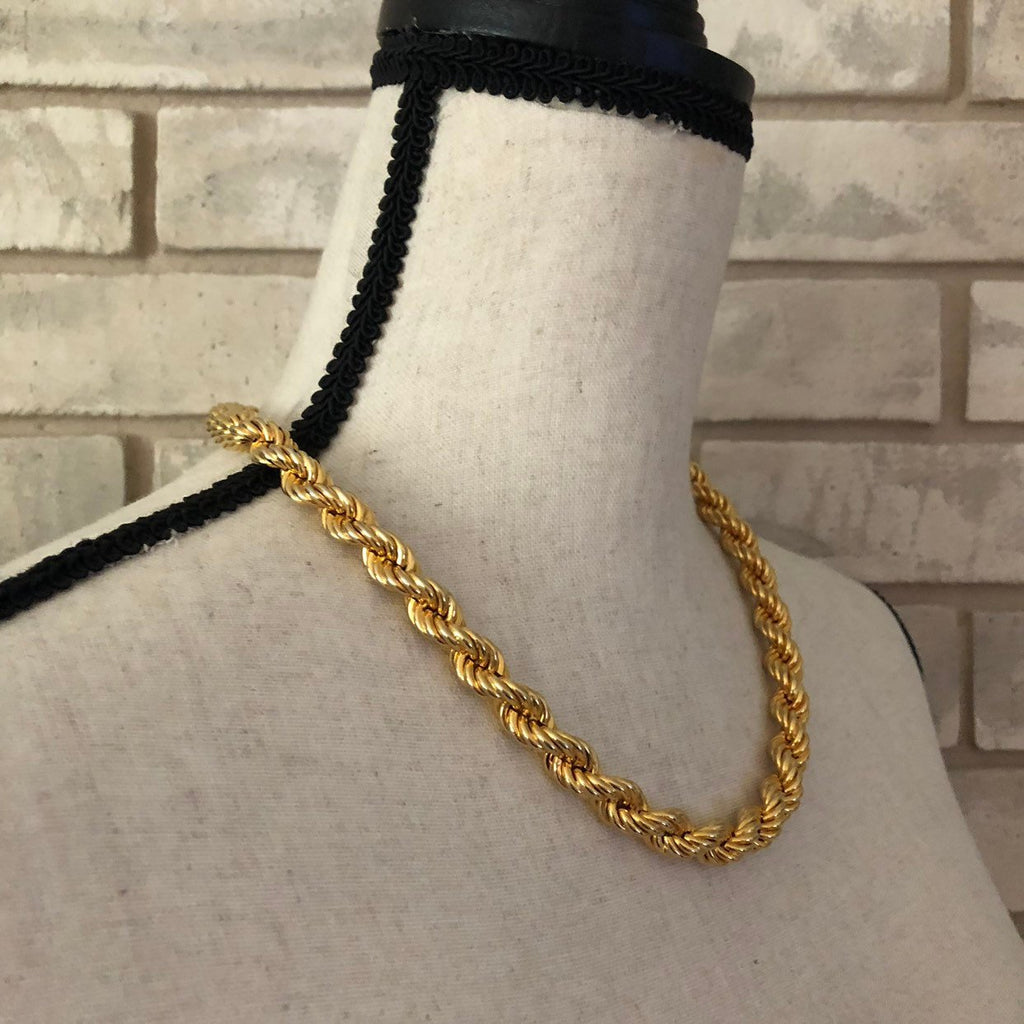 Vintage Gold Les Bernard Rope Chain Layering Necklace-Sustainable Fashion with Vintage Style-Trending Designer Fashion-24 Wishes