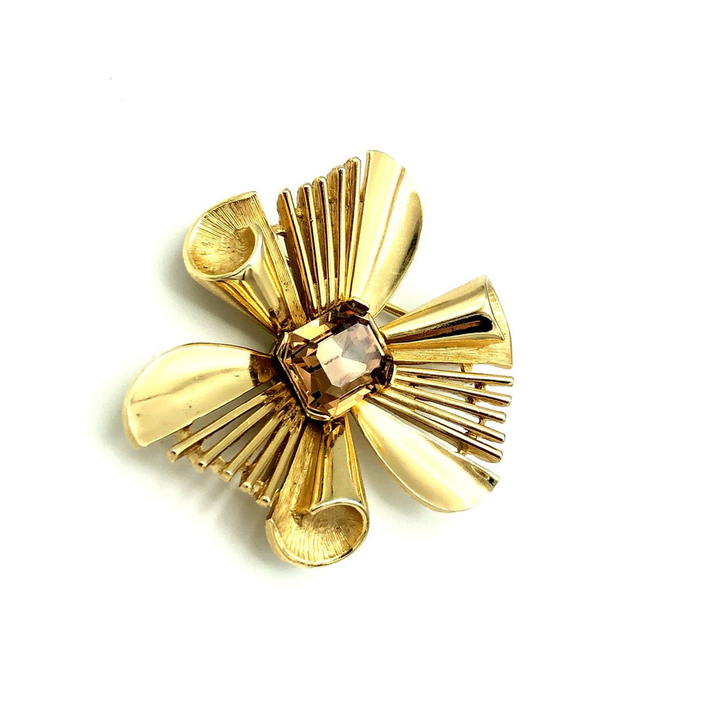update alt-text with template Vintage Gold Trifari Modernist Atomic Brooch-Brooches & Pins-Trifari-[trending designer jewelry]-[trifari jewelry]-[Sustainable Fashion]