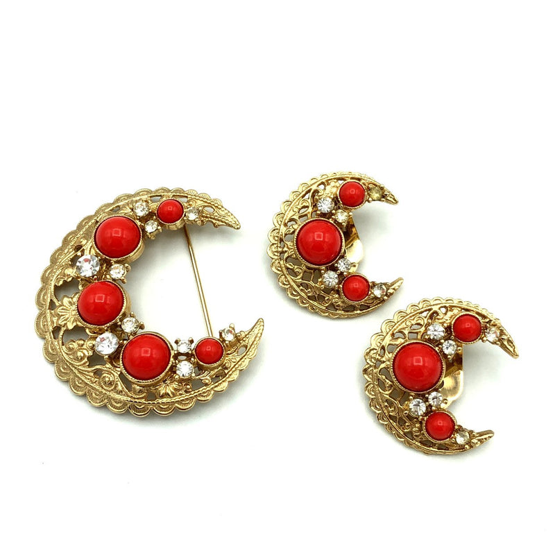 Vintage Gold Bergere Victorian Revival Coral Orange Crescent Jewelry Set