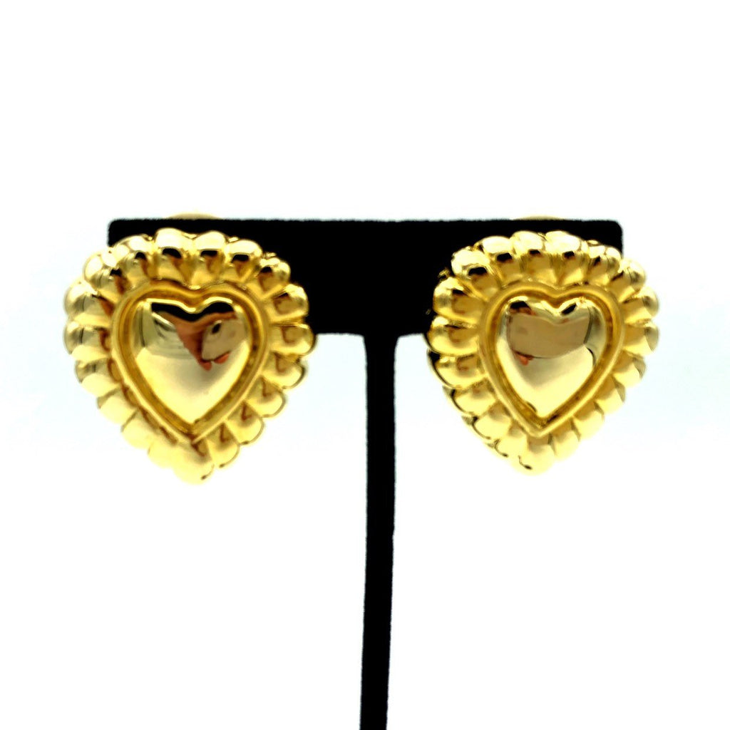 Escada Vintage Gold Puffy Heart Earrings