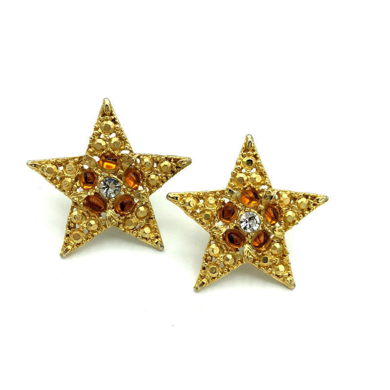 Vintage Large Gold Star Cabochon Clip-On Earrings-Sustainable Fashion with Vintage Style-Trending Designer Fashion-24 Wishes