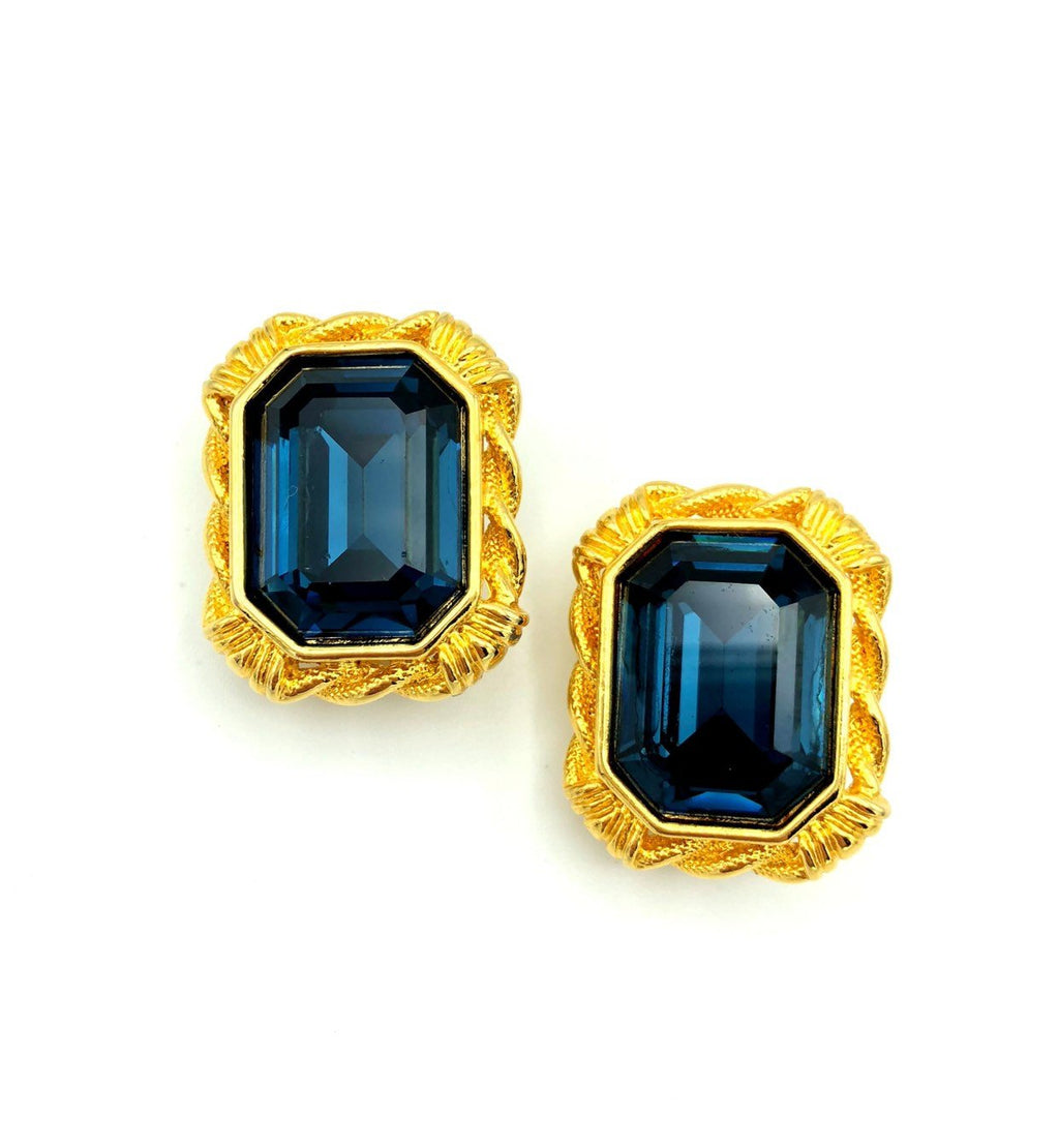 Vintage Givenchy Large Sapphire Blue Earrings