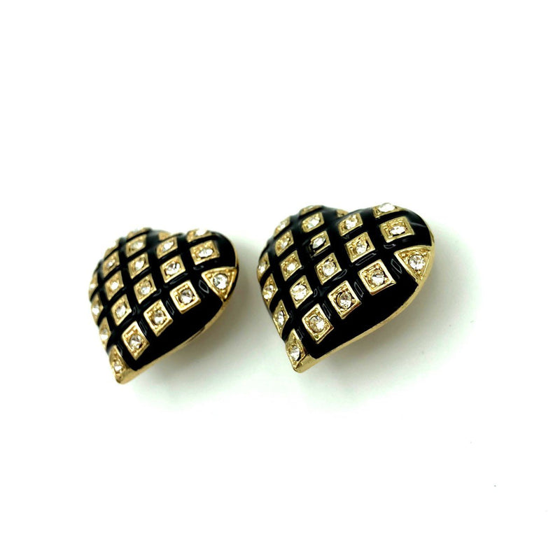 Vintage Large Black Enamel Heart Earrings