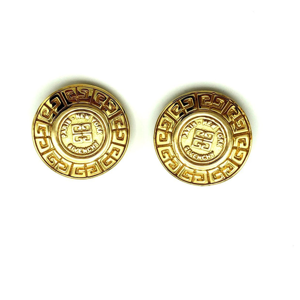 Givenchy Gold Medallion Logo Vintage Earrings