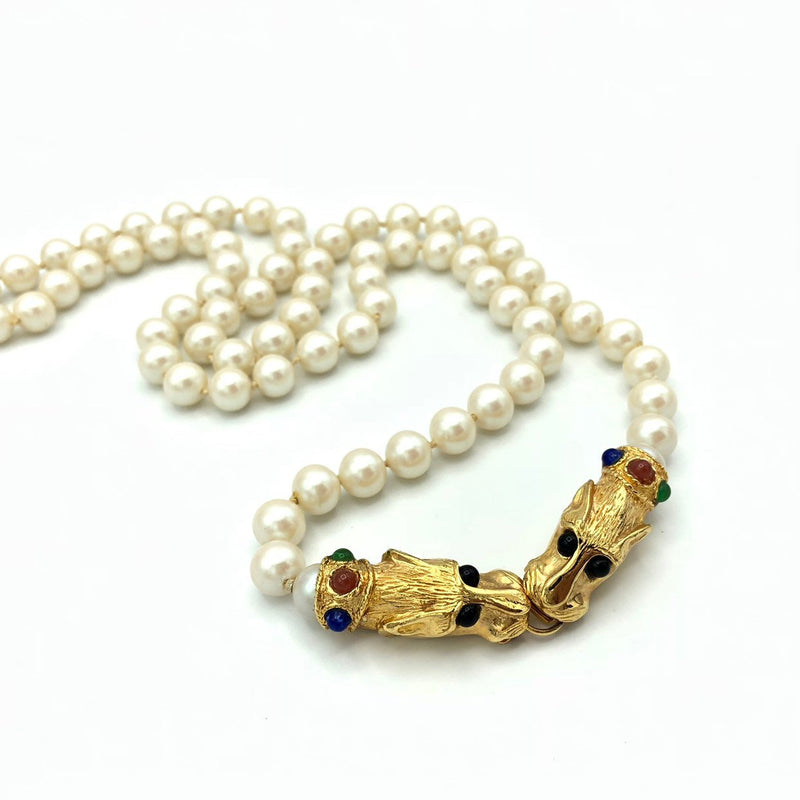 Vintage Les Bernard Classic Pearl Panther Clasp Necklace