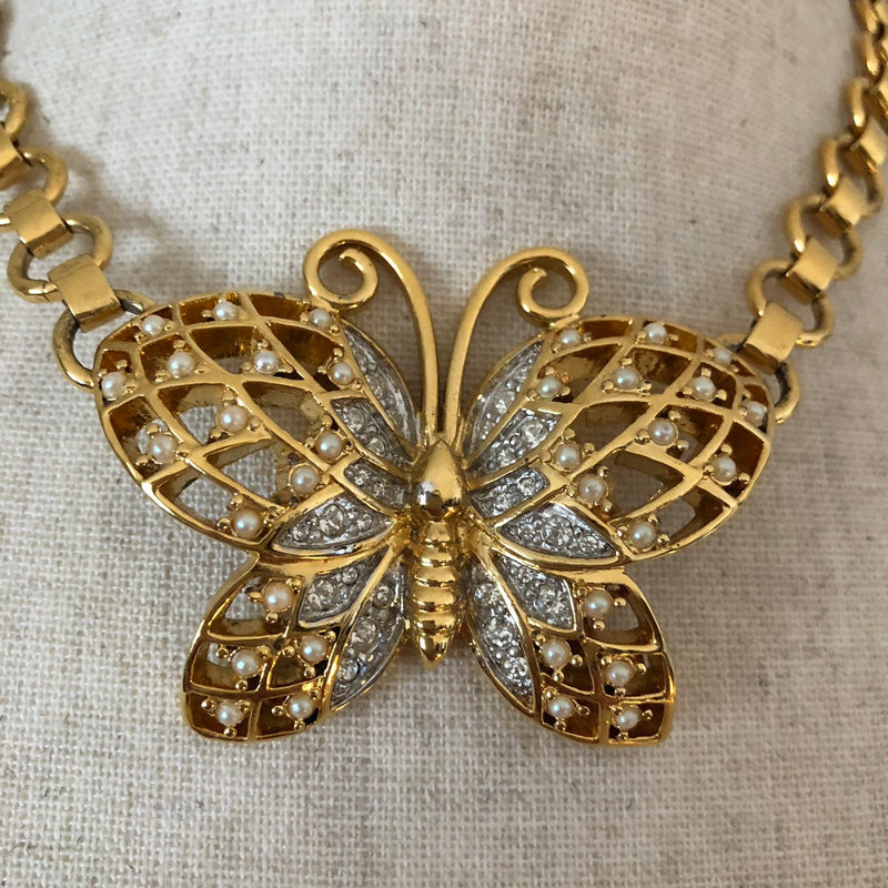Vintage Emmons Large Gold Butterfly Necklace