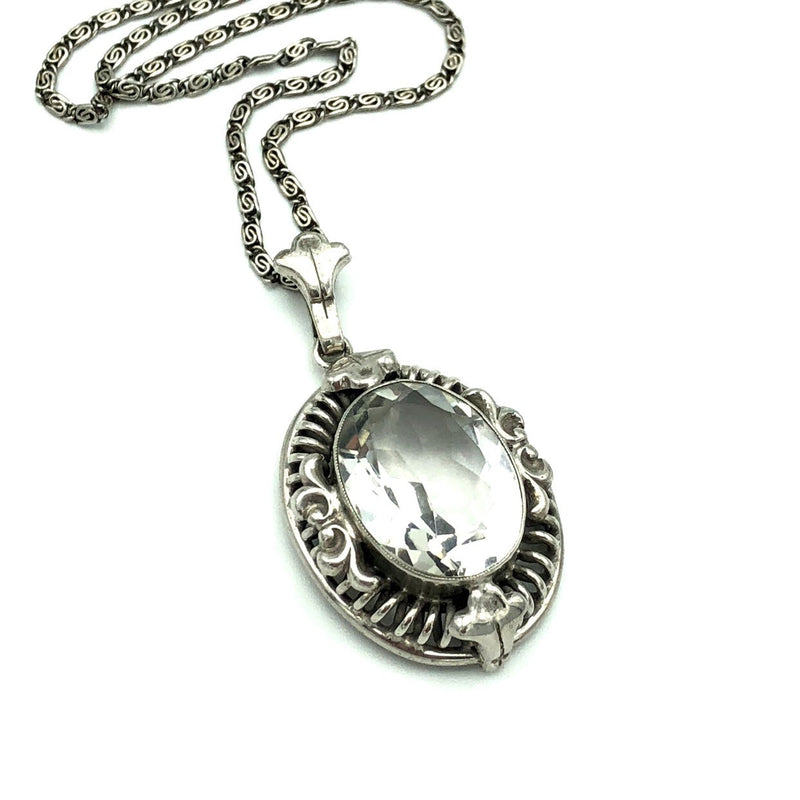 Vintage Sterling Silver Art Deco Crystal Glass Pendant-Sustainable Fashion with Vintage Style-Trending Designer Fashion-24 Wishes