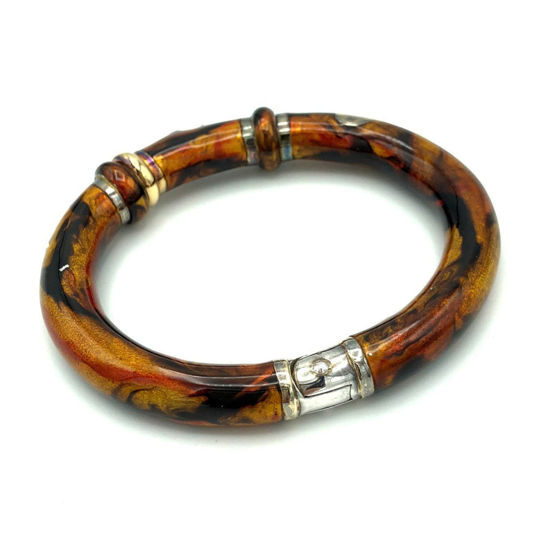 Sterling 18K SoHo Cappuccino Brown Enamel Diamond Bangle