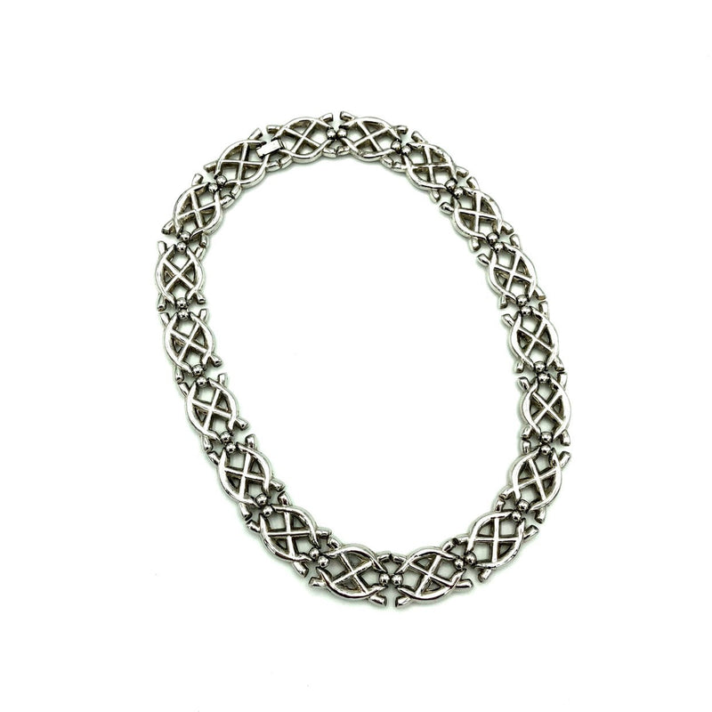 update alt-text with template Vintage Silver Crown Trifari Weave Necklace-Necklaces & Pendants-Trifari-[trending designer jewelry]-[trifari jewelry]-[Sustainable Fashion]