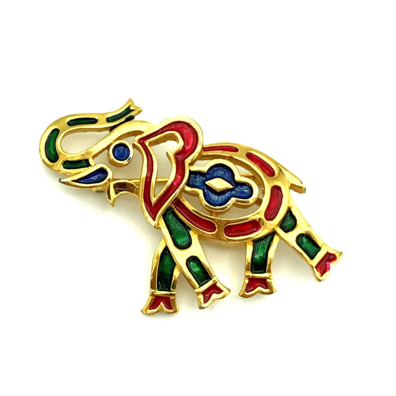 Vintage Trafari Red Green Blue Enamel Elephant Brooch Pin