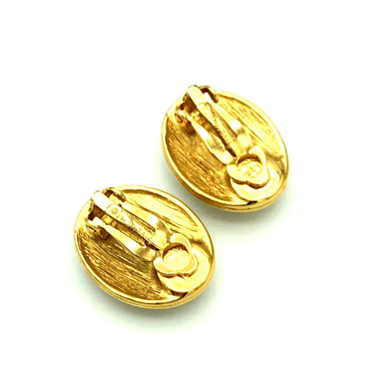 Givenchy Gold Classic Oval Rhinestone Vintage Clip-On Earrings-Earrings-Givenchy-[trending designer jewelry]-[givenchy jewelry]-[Sustainable Fashion]