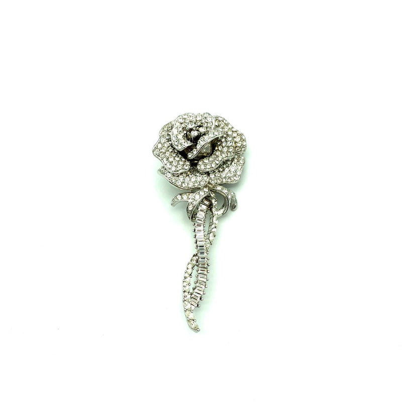 Classic Silver Rhinestone Rose Nolan Miller Brooch Pin-Sustainable Fashion with Vintage Style-Trending Designer Fashion-24 Wishes