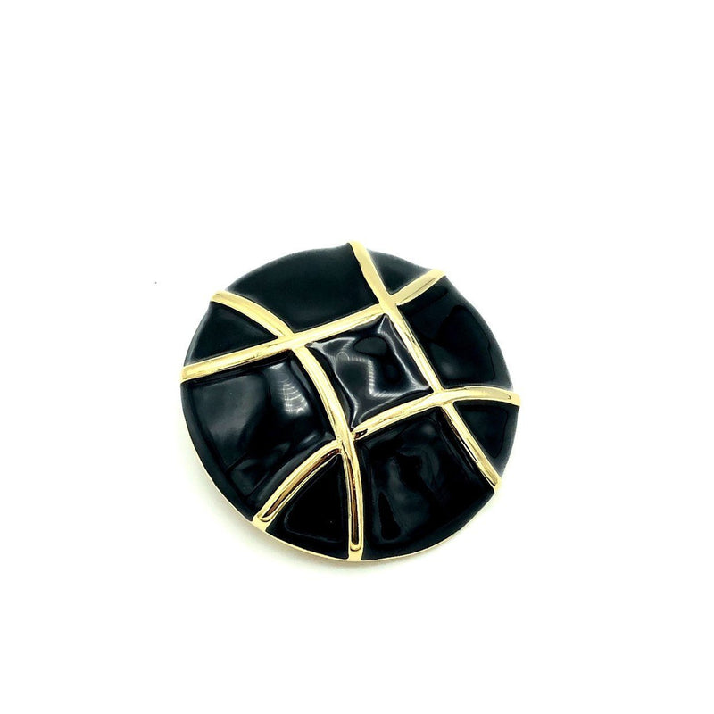 Courreges Paris Large Round Black Enamel Brooch Pin