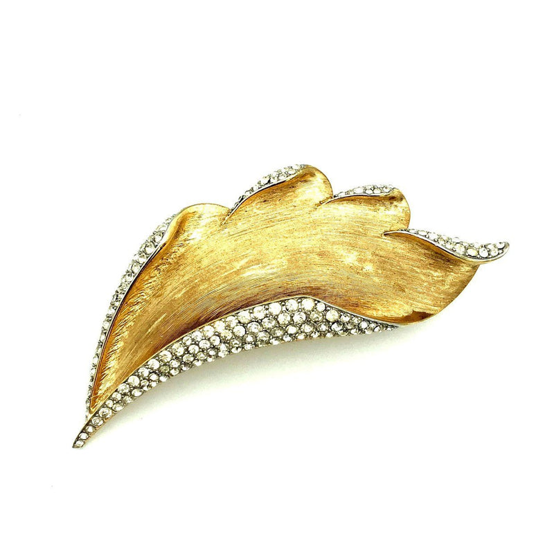 update alt-text with template Trifari Gold Rhinestone Leaf Vintage Brooch-Brooches & Pins-Trifari-[trending designer jewelry]-[trifari jewelry]-[Sustainable Fashion]