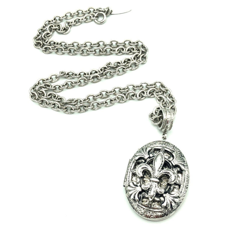 Vintage Silver Whiting & Davis Fleur-de-lis Locket Pendant-Necklaces & Pendants-24 Wishes