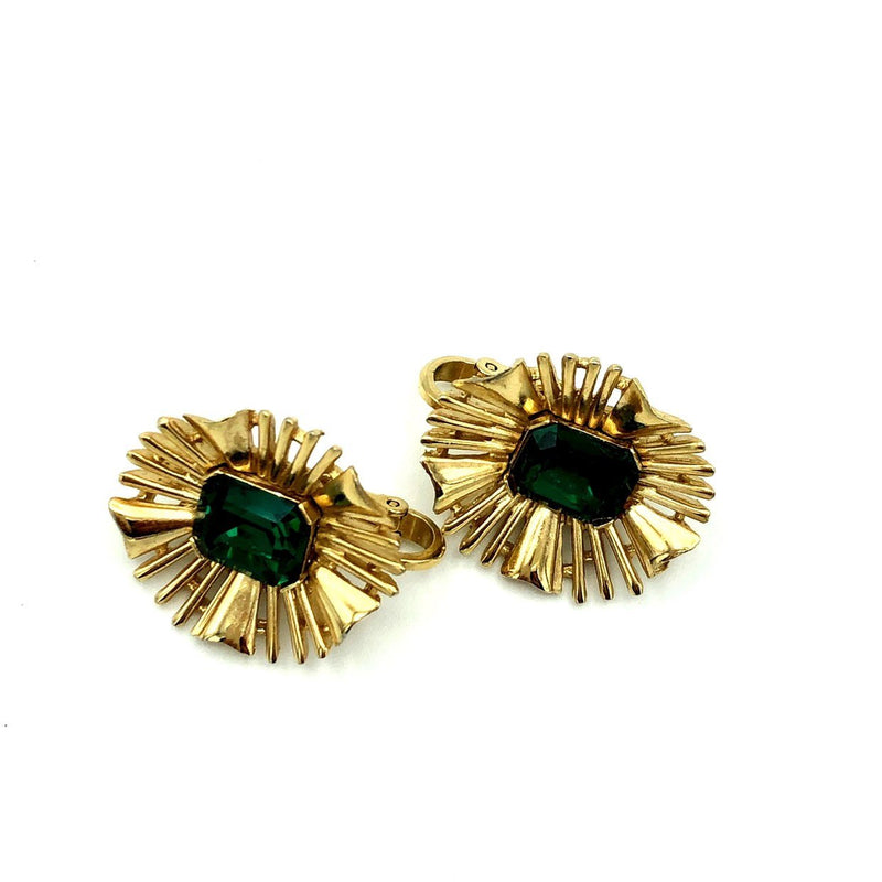 Crown Trifari Gold Atomic Starburst Green Rhinestone Earrings