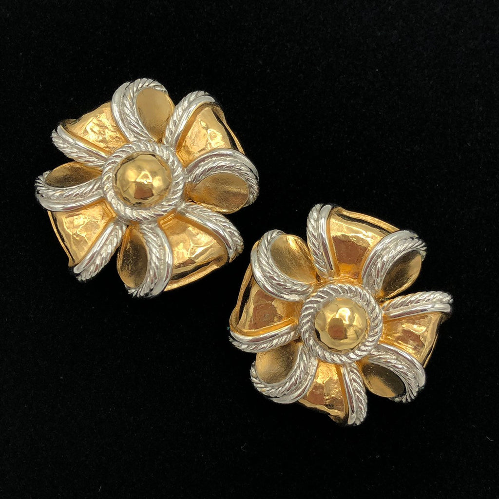 Vintage Gold Givenchy Large Bow Earrings