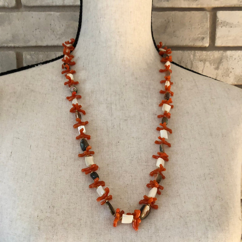 Miriam Haskell Vintage Faux Orange Coral Necklace-Necklaces & Pendants-24 Wishes