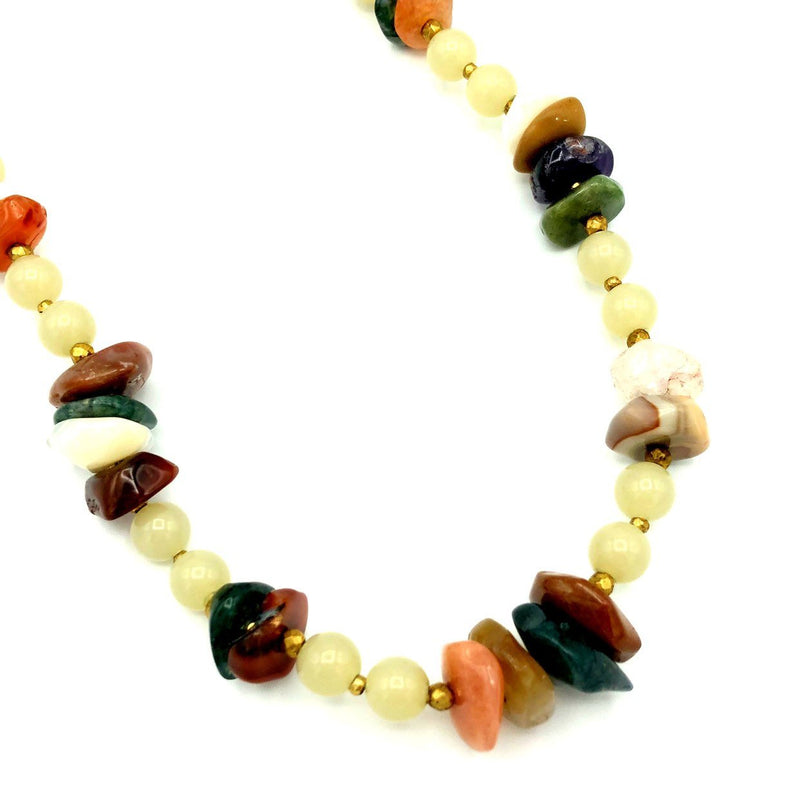 Miriam Haskell Brown Agate Stone Boho Vintage Necklace-Necklaces & Pendants-24 Wishes