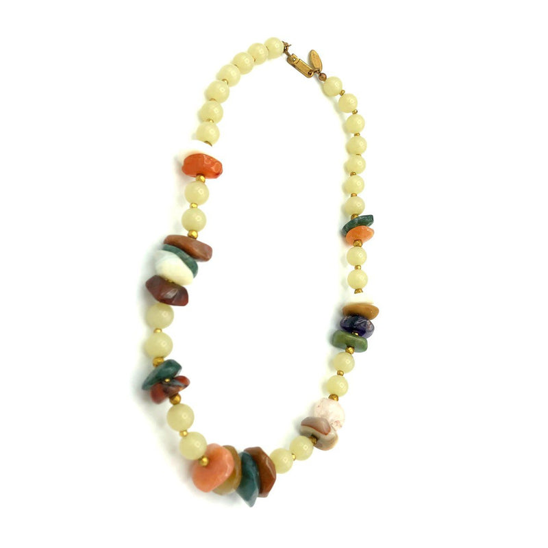 Miriam Haskell Brown Agate Stone Boho Vintage Necklace