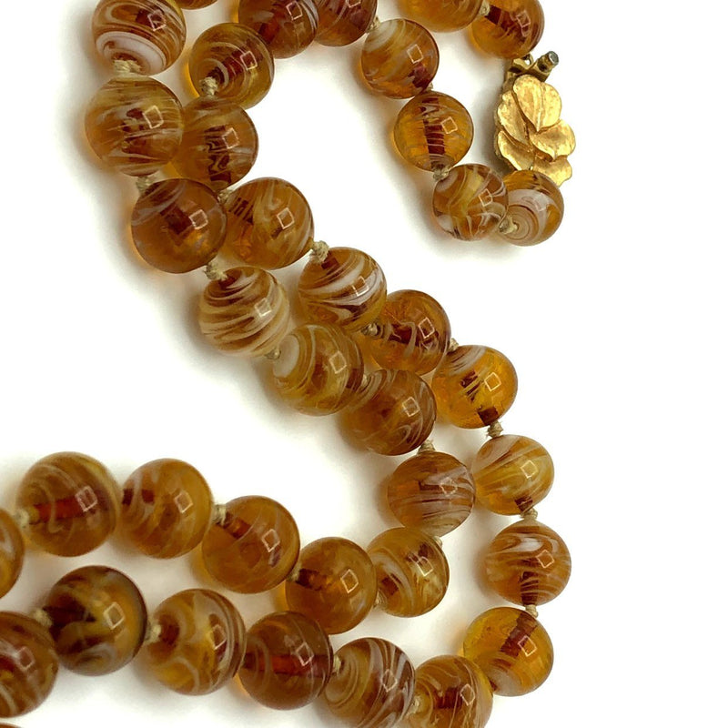 Jomaz Brown Glass Bead Long Layering Vintage Necklace