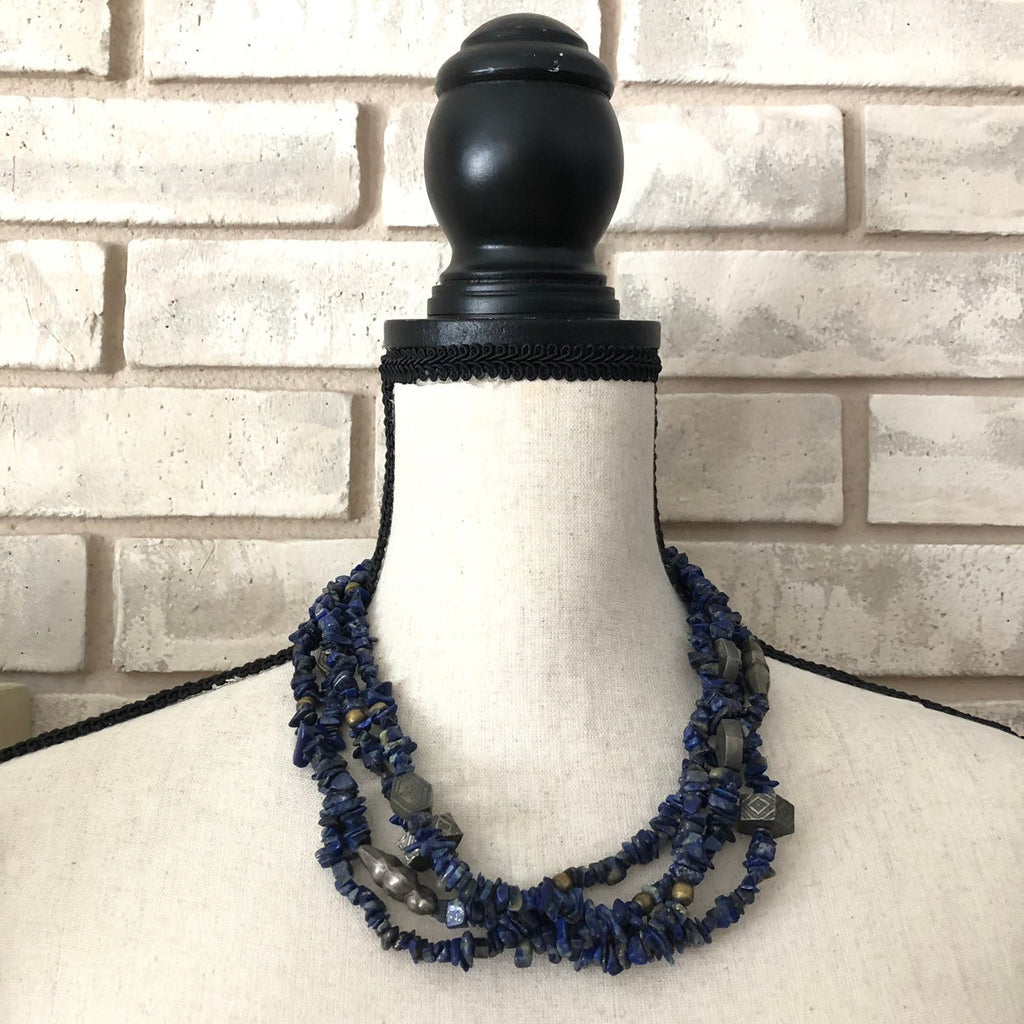 Vintage Alice Kuo Blue Lapis Lazuli Multi-Strand Beads Necklace-Necklaces & Pendants-24 Wishes