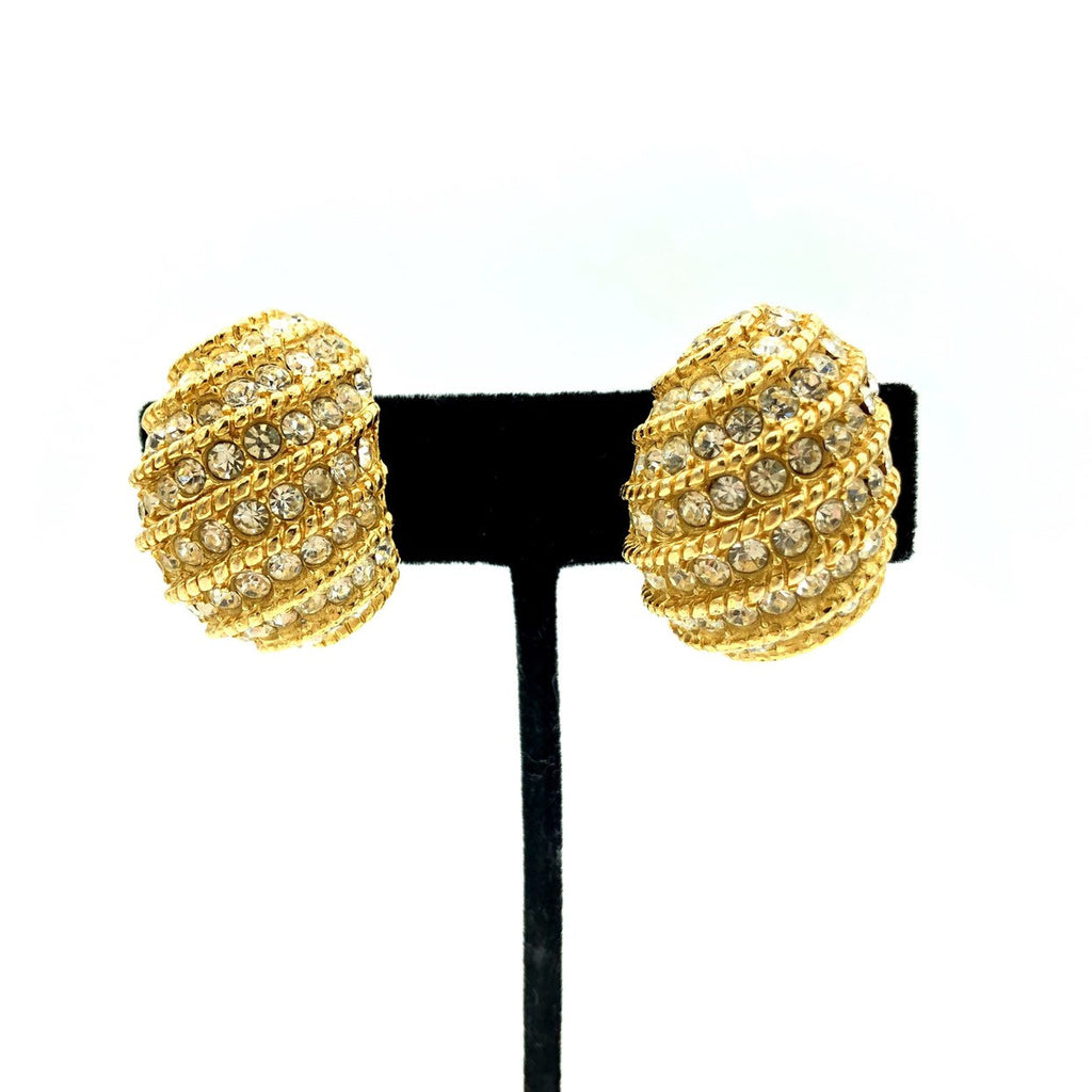 Ciner Gold Half Hoop Rhinestone Vintage Earrings