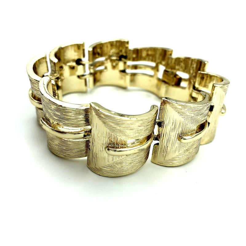 Lisner Classic Gold Modernist Link Bracelet-Sustainable Fashion with Vintage Style-Trending Designer Fashion-24 Wishes