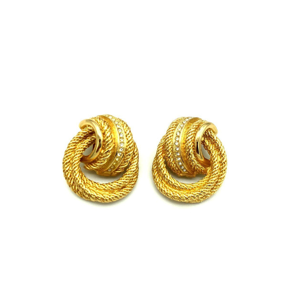 Vintage Gold Christian Dior Classic Knot Rope Earrings