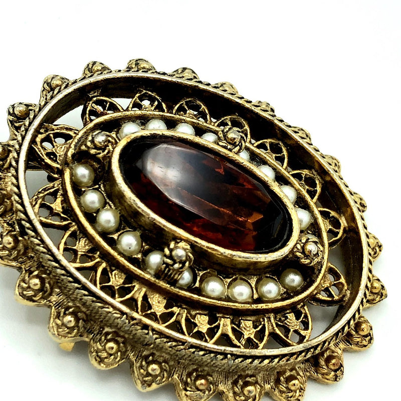 Gold Pauline Rader Victorian Revival Brown Glass Brooch Pendant-Brooches & Pins-24 Wishes