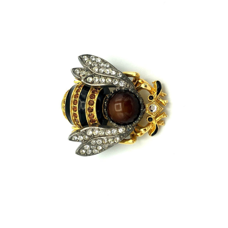 Large Edgar Berebi Figural Enamel Bee Brooch-Sustainable Fashion with Vintage Style-Trending Designer Fashion-24 Wishes