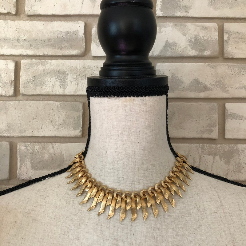 Francois Gold Ribbon Textured Small Bib Necklace-Sustainable Fashion with Vintage Style-Trending Designer Fashion-24 Wishes